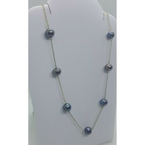 10k Gold Tahitian Pearl Station Chain Necklace